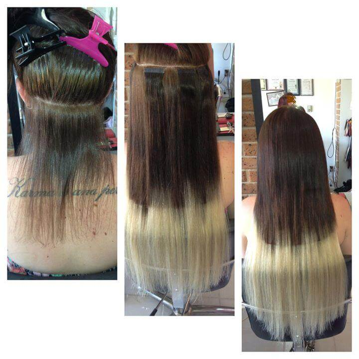 ombre color tape hair