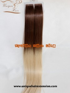 Russian virgin balayage tape in hair