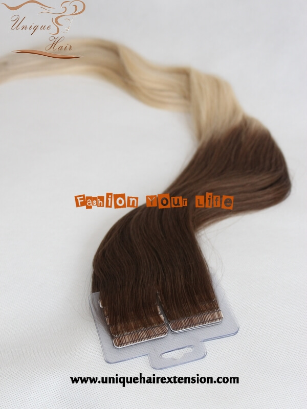 double drawn balayage tape hair extensions manufacture by Qingdao ...