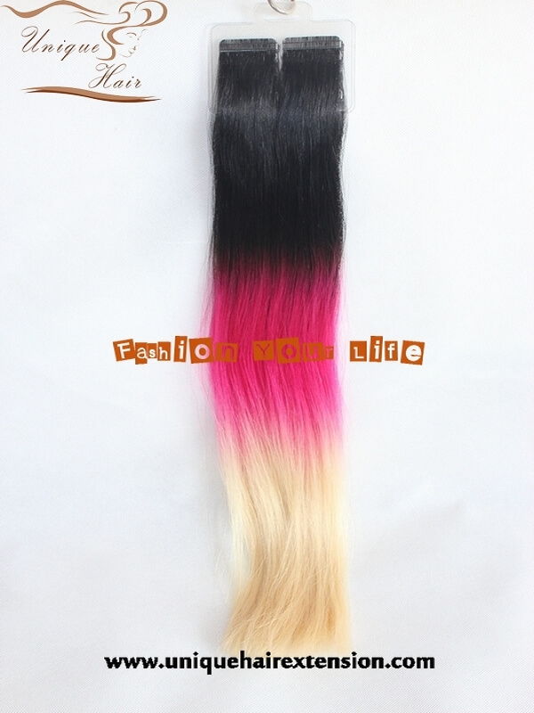 ombre color tape in hair extensions