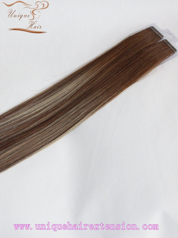 Piano and ombre tape in hair extensions