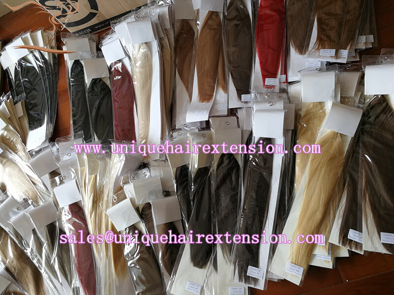 Stock tape in hair extensions ready to ship